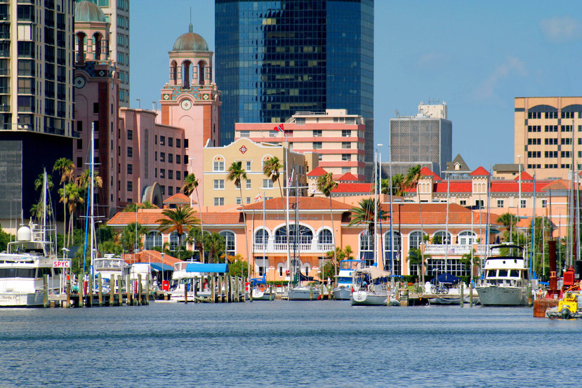 Horizontal view showing the St Petersburg, Florida, USA Yacht Club Marina and the downtown St Petersburg Skyline
