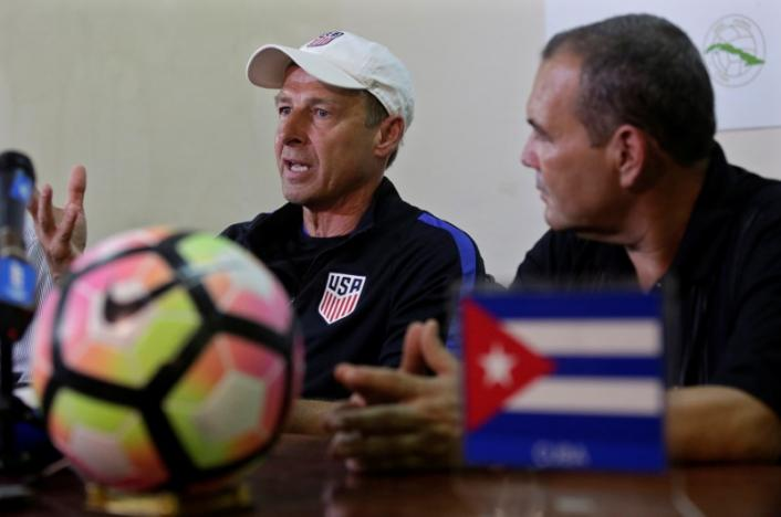 U.S. national soccer team head coach Jurgen Klinsmann (L), attends a conference in Havana, Cuba October 6, 2016. REUTERS/Enrique de la Osa