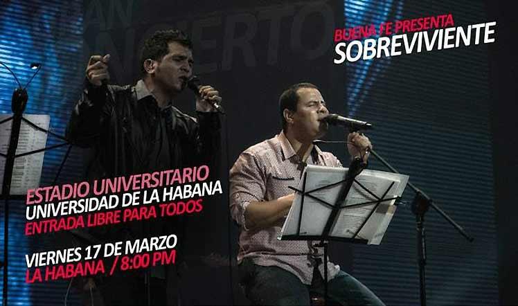 Gran concierto de Buena Fe en estadio universitario de La Habana