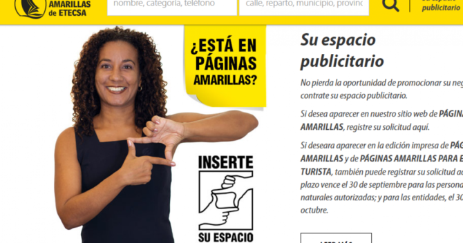 ETECSA lanza web de Páginas Amarillas para que empresas y cuentapropistas se publiciten