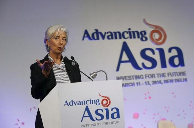 "International Monetary Fund (IMF) Managing Director Christine Lagarde speaks during a session with Melinda Gates (unseen), co-founder of Bill and Melinda Gates Foundation, at the ""Advancing Asia: Investing for the Future"" conference in New Delhi, India, March 12, 2016. REUTERS/Anindito Mukherjee"