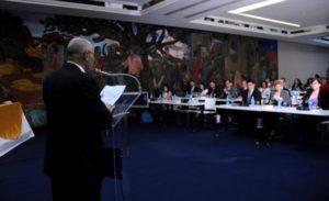 Alfredo Cordero Puig (I), Presidente del Instituto de la Aeronáutica Civil de Cuba (IACC), interviene durante la inauguración de la LXXXVIII Reunión del Comité Ejecutivo de la Comisión Latinoamericana de Aviación Civil (CLAC), en el Hotel Habana Libre, Cuba, el 17 de agosto de 2016. ACN FOTO/ Omara GARCÍA MEDEROS /rrcc