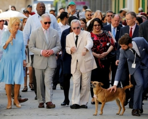 Prince Charles and the Duchess Camilla walk through Old Havana