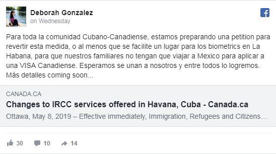 Recogen firmas para que la embajada de Canadá reanude los trámites de visas en Cuba