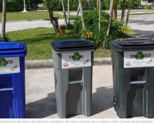 Contenedores de basura de Catar para escuelas de La Habana