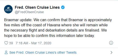 El crucero MS Braemar está a cinco millas de La Habana a la espera para atracar