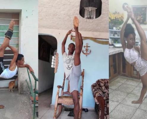 Estudiantes de danza en La Habana muestran a su profesora cómo entrenan en cuarentena
