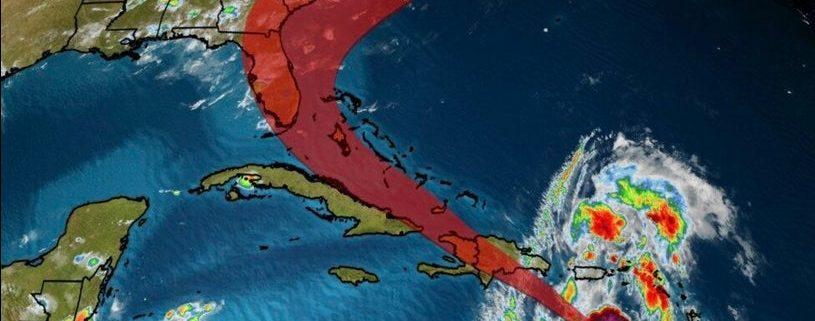 Trayectoria de la posible tormenta tropical Isaías