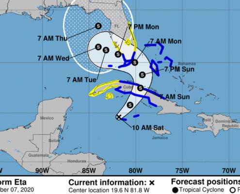 Storm Eta Now Heads for Cuba
