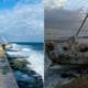 Encalla velero en malecón de La Habana