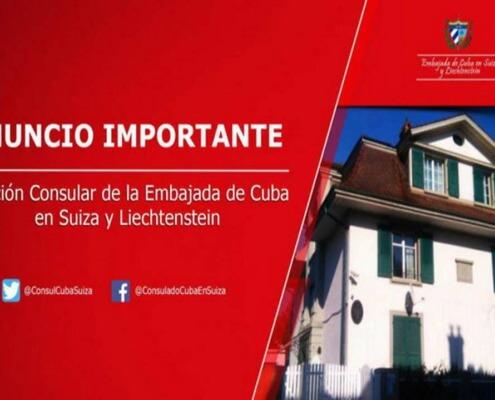 Informan cierre temporal de oficina consular de Cuba en Suiza